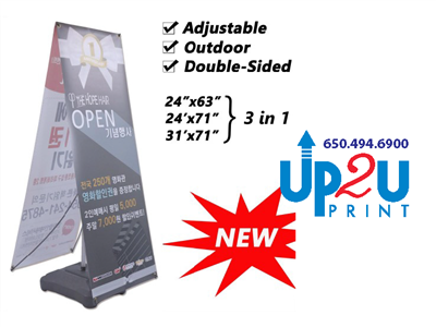 "Outdoor x banner stands with Water Fill Base 24""x 63"" 24""x 71""  31""X 71"" UP2U PRNIT Mountain View"