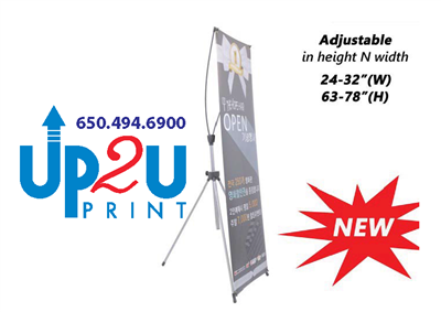 "Adjustable X Banner Stand Mountain View 24""x63"" to 32""x78"""